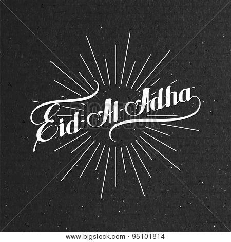handwritten Eid-Al-Adha retro label with light rays