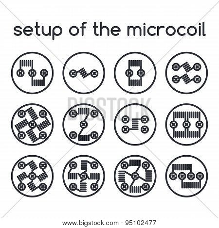 Set Of Icons. Setup Of The Microcoil