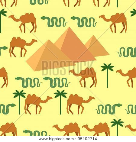 Egypt. Seamless pattern Characters of Egypt: pyramids and camels. Palm and snake. Vector background.