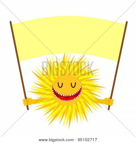 Cartoon  Sun smile. Funny Yellow Sun Holds a sign for text. Vector illustration