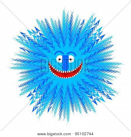 Snowflake smile. Winter Blue Snowflake symbol of winter. Vector illustration