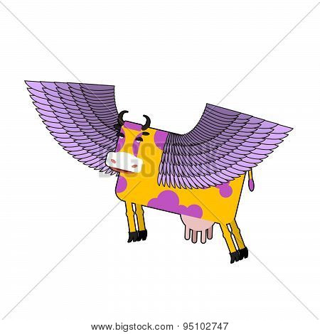 Cow with purple wings. Flying animal. vector illustration. Fantastic mammal.