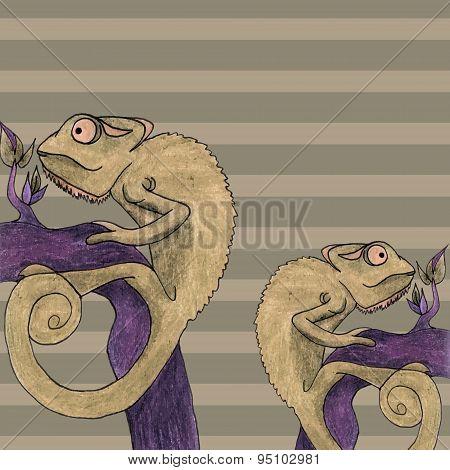 Chameleon Card Vector Illustration