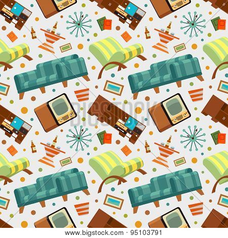 Seamless pattern with the living room stuff