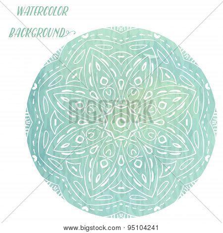 Vector circular ornament blue, mandala .Ornamental round floral pattern.