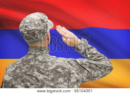 Soldier In Hat Facing National Flag Series - Armenia