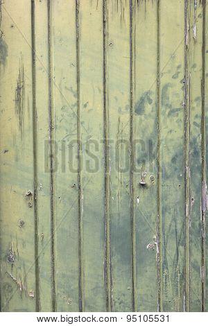Faded Green Planks Of Old Wooden Door
