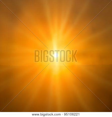 Abstract Sunset- Shining Orange Sun