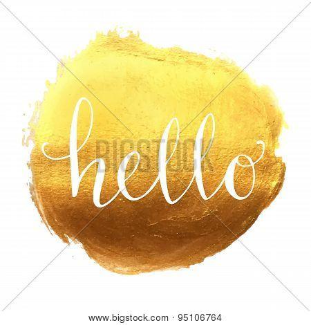 Hello hand lettering on splash golden background