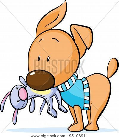 Cute Dressed Dog Hold Toy In Mouth Isolated On White - Vector Illustration