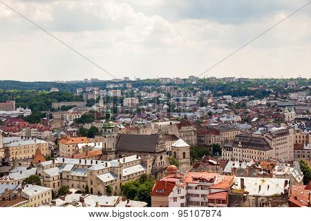 View of old small city Lviv