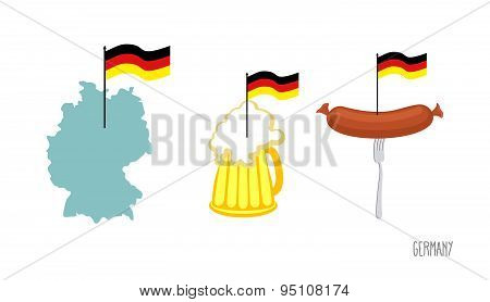 Set icons  German symbol. Map and  German flag. Beer and fried sausage. Made in Germany. Vector illu
