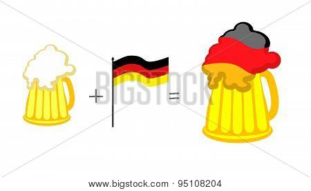 Beer and German flag. Mathematical formula: beer mug plus flag of Germany, nor present German tasty