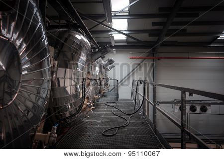 Industrial interior of an alcohol factory