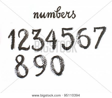 Watercolor Hand Written Black Numbers - Illustration