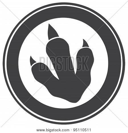 Dinosaur Paw Print Circle Label Design