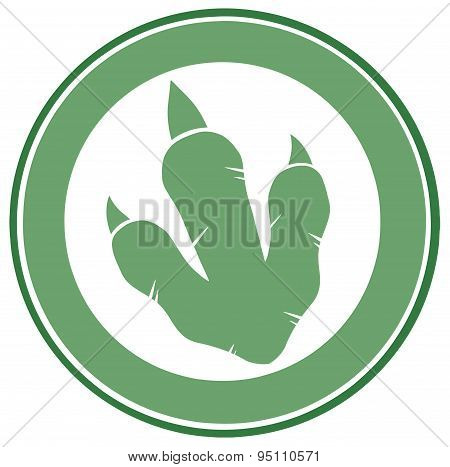 Dinosaur Green Paw Print Circle Label Design