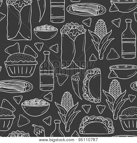 Seamless background with cute cartoon hand drawn outline objects on mexican food theme: chili, taco.