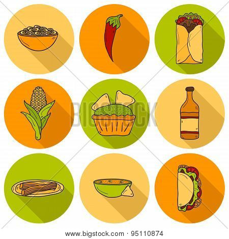 Set of cute cartoon hand drawn shadow icons on mexican food theme: chili, taco. tobacco, birrito, na