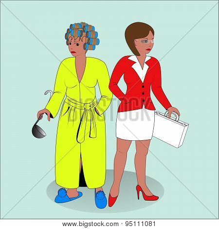 Business Woman And Housewife.