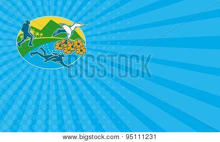 Business Card Scuba Diver Hiker Island Tropicbird Flowers Retro