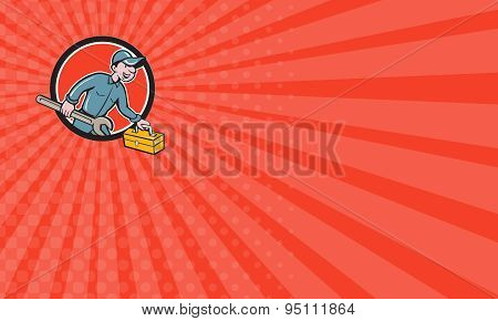 Business Card Mechanic Carrying Toolbox Spanner Circle Cartoon