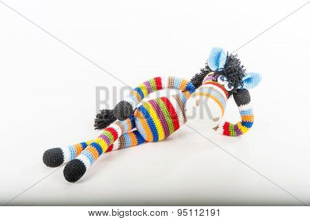 Soft Toy Lying Bright Zebra