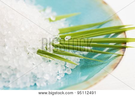 Bath Salt And Palm Leaf