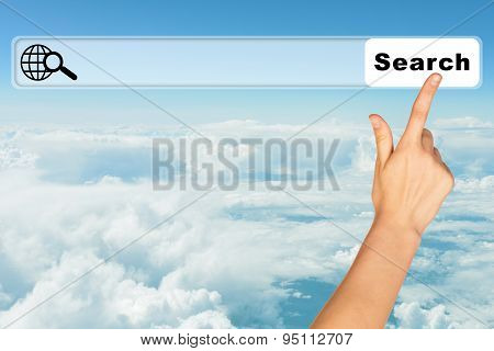 Humans hand on blue sky background