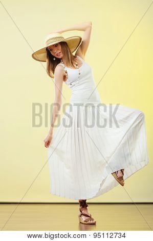 Woman In Straw Summer Hat White Dress