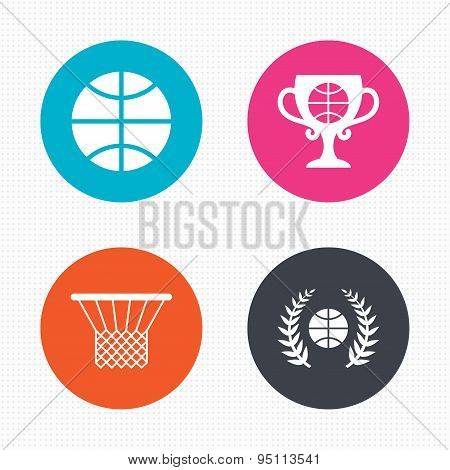 Basketball icons. Ball with basket and cup symbols.