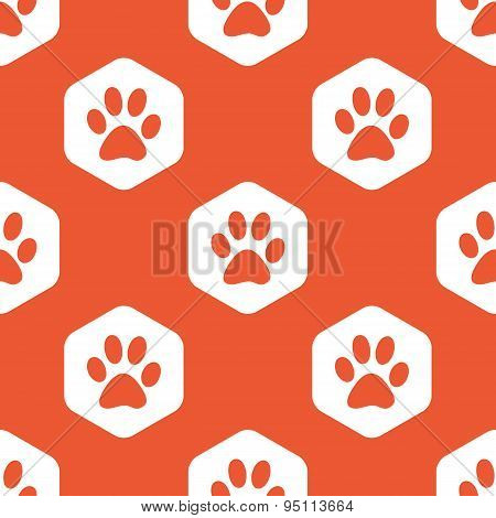 Orange hexagon paw pattern