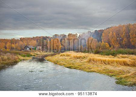 autumn landscape before the storm