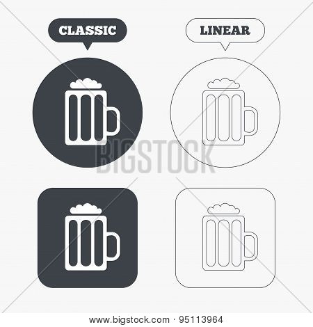 Glass of beer sign icon. Alcohol drink symbol.