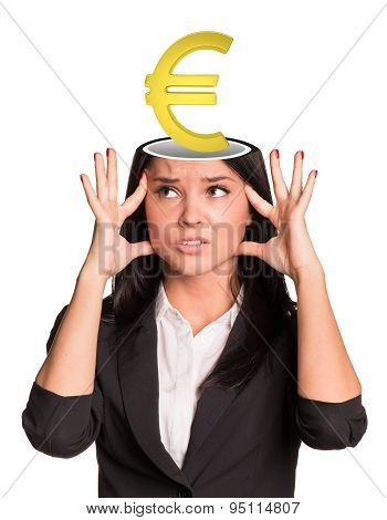 Thinking businesslady with euro sign