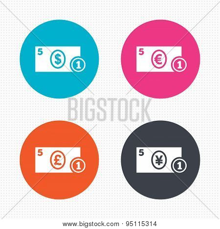 Cash money signs. Dollar, euro and pound icons.