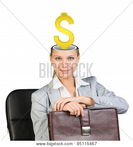 Sitting businesslady with dollar sign