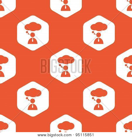 Orange hexagon thinking person pattern