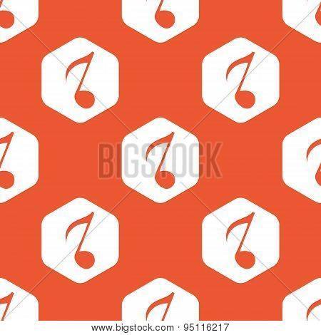 Orange hexagon 8th note pattern