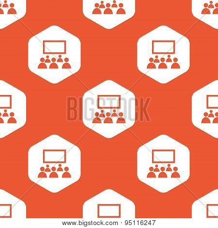 Orange hexagon audience pattern