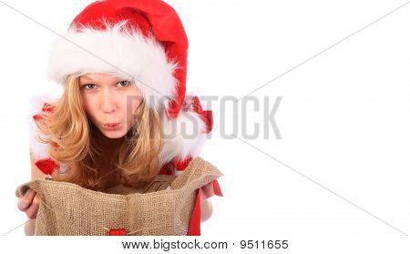 Amazed Miss Santa With Christmas Bag - White Space On The Right