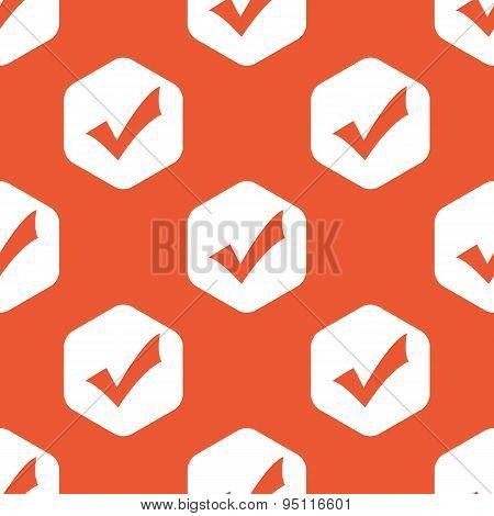 Orange hexagon tick mark pattern