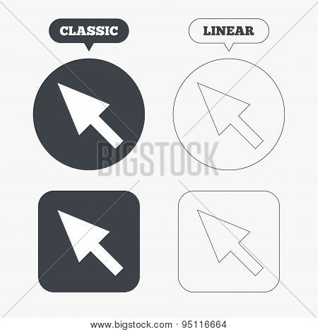 Mouse cursor sign icon. Pointer symbol.