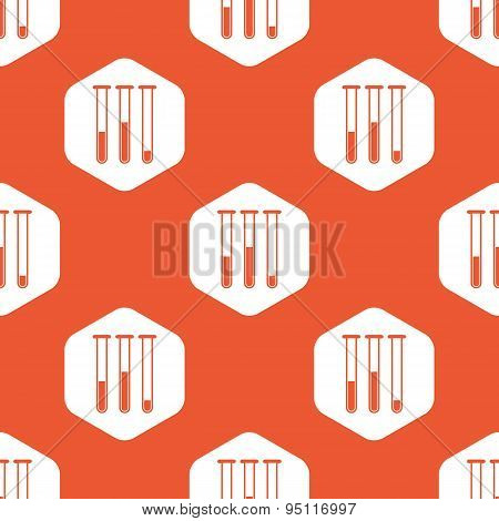 Orange hexagon test-tubes pattern