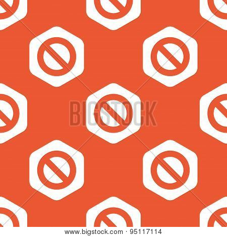 Orange hexagon NO sign pattern