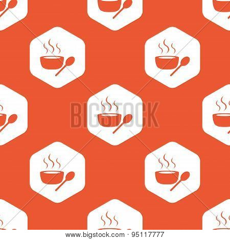 Orange hexagon hot soup pattern