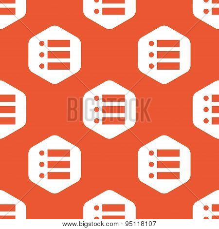 Orange hexagon dotted list pattern