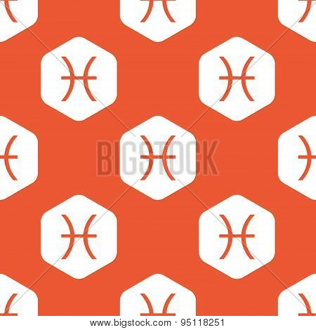 Orange hexagon Pisces pattern