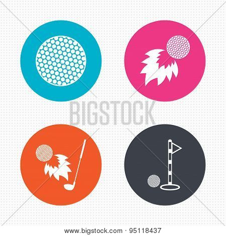Golf ball icons. Fireball with club symbol.