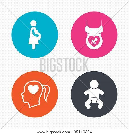 Maternity icons. Baby infant, pregnancy, dummy.
